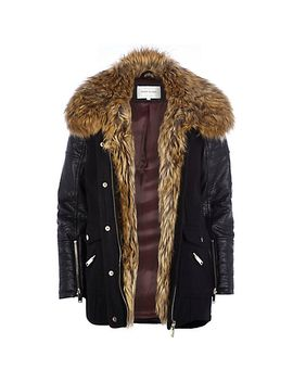 black-faux-fur-collar-wool-parka-jacket by river-island