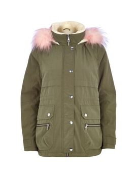 khaki-faux-fur-tirm-parka-jacket by river-island