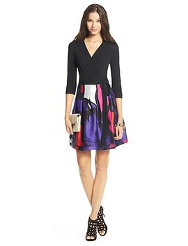 dvf-jewel-silk-combo-pleated-wrap-dress by dvf