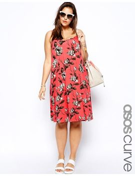 asos-curve-exclusive-cami-swing-dress-in-rose-print by asos-curve