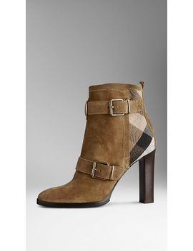 check-panel-belted-suede-boots by burberry