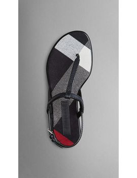 canvas-check-and-leather-sandals by burberry