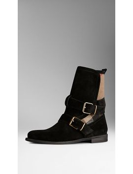 check-jute-trim-suede-ankle-boots by burberry