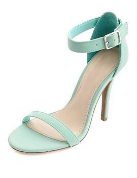 nubuck-single-sole-ankle-strap-heels by charlotte-russe