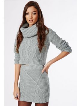 carissa-cable-knit-skirt-grey by missguided