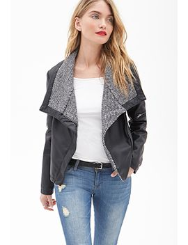 faux-leather-&-tweed-jacket by forever-21