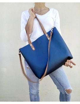 free-shipping--navy-leather-bag--student-bag--blue-metallic-leather-bag-tote-leather-bag-shoulder-bag--cross-body-bag--by-lara-klass by laraklass