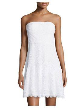 strapless-lace-cocktail-dress,-white by diane-von-furstenberg