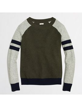 factory-varsity-stripe-colorblock-waffle-sweater by jcrew