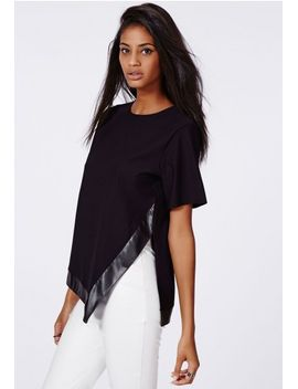 asymmetric-leather-trim-top-in-black by missguided