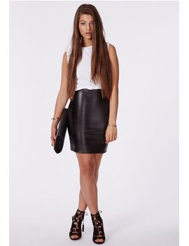 celia-faux-leather-bodycon-dress-white by missguided