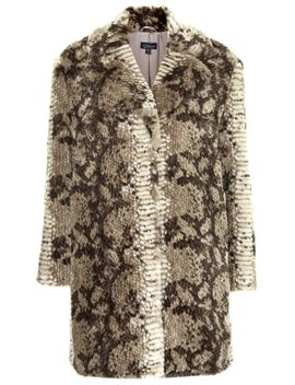 faux-fur-snake-print-coat by topshop