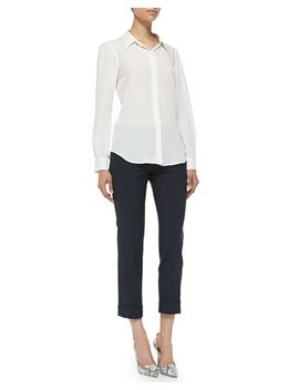 miska-double-georgette-blouse-&-jin-cuffed-cropped-crepe-pants by theory