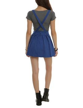blue-pleated-suspenders-skirt by hot-topic
