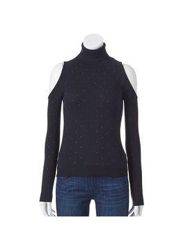 jennifer-lopez-embellished-cold-shoulder-turtleneck-sweater---womens by kohls