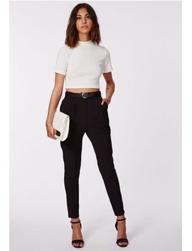 uttara-black-high-waisted-cigarette-trousers by missguided