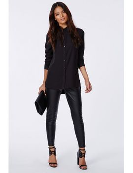 mandoline-dropped-hem-shirt-black by missguided