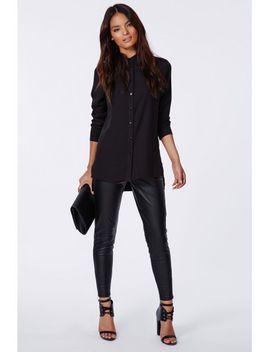 mandoline-dropped-hem-shirt-black by missguided