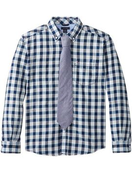 tommy-hilfiger-big-boys-long-sleeve-donald-plaid-with-tie,-flag-blue,-small by tommy-hilfiger