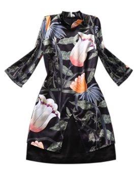 black-floral-print-satin-dress by choies