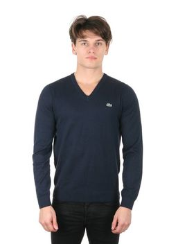 lacoste-mens-glc-cotton-jersey-v-neck-sweater-silver-chine_flour-sweater-l-(eur-6) by lacoste