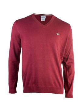 lacoste-glc-cotton-jersey-v--neck-sweater--wine-red-(3xl) by lacoste