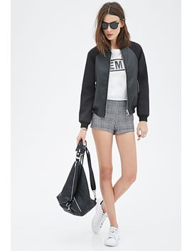 paneled-faux-leather-bomber-jacket by forever-21