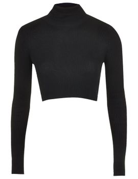ribbed-roll-neck-crop-top by topshop
