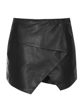 pu-asymmetric-wrap-skort by topshop