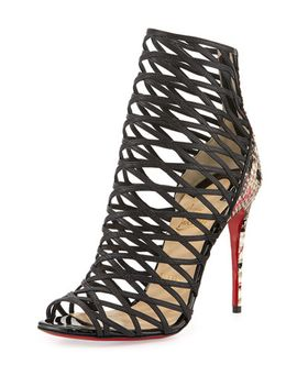 mille-cinque-python-lattice-red-sole-bootie by christian-louboutin