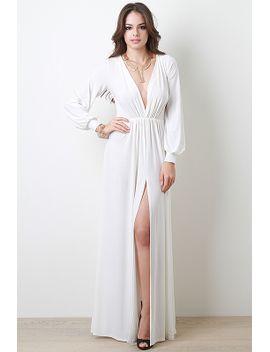 deep-v-neck-slit-dress by urbanog