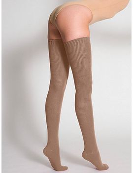 cotton-solid-thigh-high-socks by american-apparel