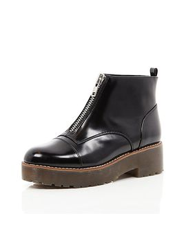 black-leather-zip-front-chunky-sole-boots by river-island