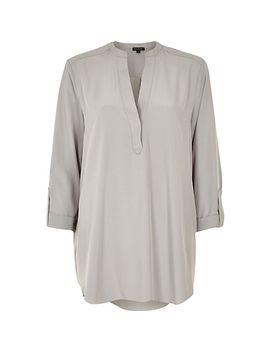 grey-collarless-longer-length-shirt by river-island