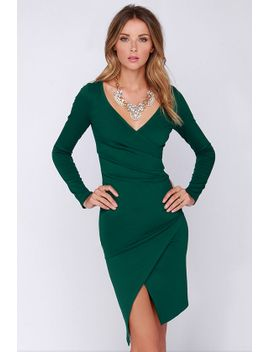 lulus-exclusive-shakedown-forest-green-long-sleeve-midi-dress by lulus