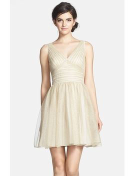 ruched-metallic-tulle-fit-&-flare-dress by aidan-mattox