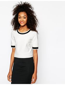 vila-cropped-boxy-rib-detail-t-shirt-with-contrast-edge by vila