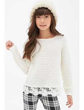 lace-trimmed-open-knit-sweater-(kids) by forever-21
