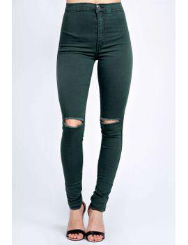 aleesha-khaki-high-rise-disco-jeans by boohoo