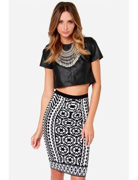 design-intervention-black-and-white-print-pencil-skirt by lulus