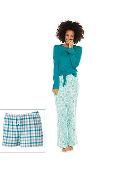 sonoma-life-+-style®-pajamas:-3-pc-printed-flannel-pajama-gift-set---womens by kohls
