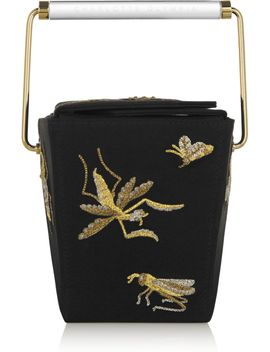 take-me-away-embroidered-satin-crepe-clutch by charlotte-olympia