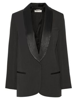 satin-trimmed-crepe-blazer by michael-michael-kors