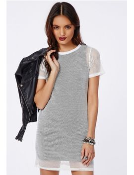 estha-fishnet-overlay-t-shirt-dress-white_black by missguided