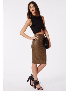 elizer-snake-embossed-faux-suede-midi-skirt-khaki by missguided