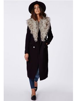 amalie-faux-fur-collar-wool-coat-black by missguided