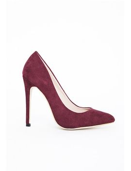 isabel-pointed-stiletto-court-heels-burgundy-faux-suede by missguided