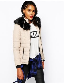 river-island-padded-coat-with-faux-fur-neck by river-island