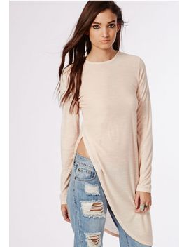 soreenah-long-sleeve-asymmetric-jersey-top-nude by missguided