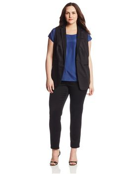 calvin-klein-womens-plus-size-mesh-collared-vest,-black,-18w by calvin-klein
